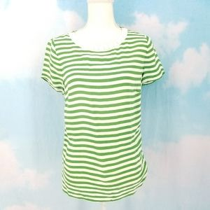 Banana Republic Green and White Striped Blouse